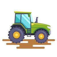 green tractor on the field on a white background vector