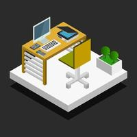 Isometric Office Room On White Background vector