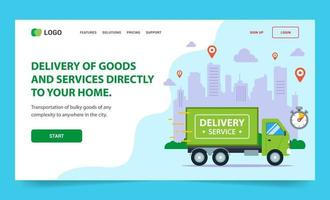 Landing page for Fast delivery of goods around the city vector