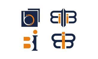 bi letter logo design template vector illustration