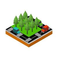 Isometric Road On White Background vector
