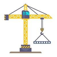 A yellow construction crane lifts a load on a hook vector