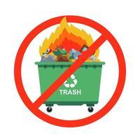 ban on burning garbage sign vector