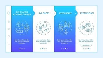 Eye diseases treatment methods onboarding vector template