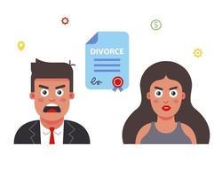 Couple divorce concept vector