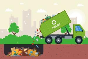 Disposal of waste in a garbage pit vector
