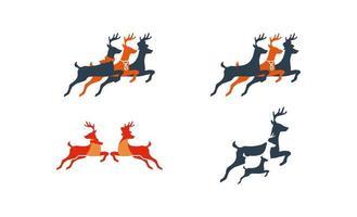 saltando ciervos logo vector diseño inspiraciones