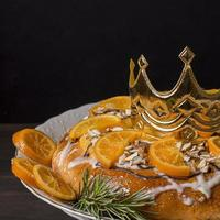 Epiphany day cake desserts with crown copy space photo