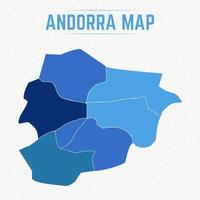 Andorra Detailed Map With States vector