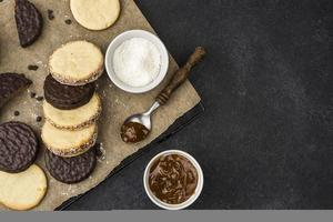 Flat design of delicious alfajores with copy space photo