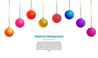 Colorful Christmas Balls Hanging Background vector