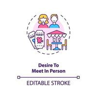 Desire to meet in person concept icon.