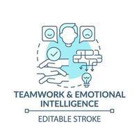 El trabajo en equipo y la inteligencia emocional concepto icono azul vector