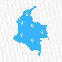 mapa simple de colombia con iconos de mapa vector