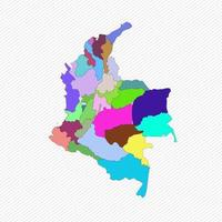 Colombia Detailed Map With States vector