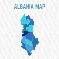 Albania Detailed Map With States vector