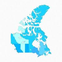 Canada Divided Map With States vector