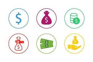 Colorful Money Icon Set vector