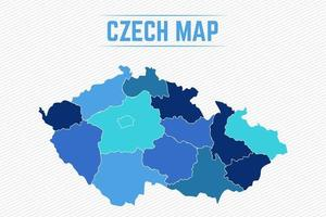 Czech Republic Detailed Map With States vector