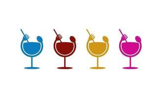 juice glass spoon fork logo design illustration vector