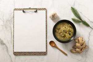 Flat lay delicious food concept with copy space photo