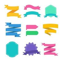 conjunto de cintas planas de colores vector