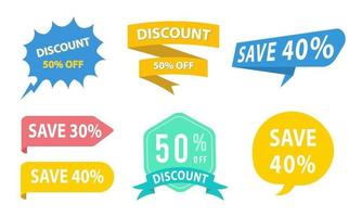 Colorful Discount Labels Collection vector