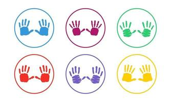 colorido conjunto de iconos de impresión de mano vector