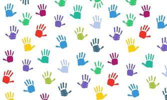 Fondo colorido de la silueta de la impresión de la mano vector