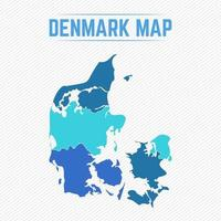 Denmark Detailed Map With States vector