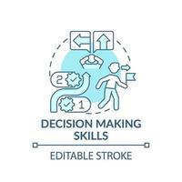 Decision making skills blue concept icon vector