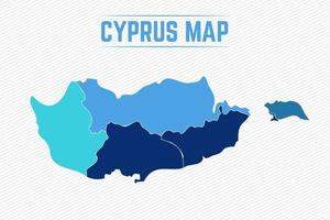 Cyprus Detailed Map With States vector