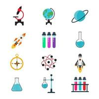 Colorful laboratory Science Icons Set vector