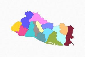 El Salvador Detailed Map With States vector