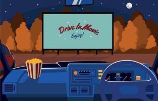 Enjoy Drive in Movie Concept vector