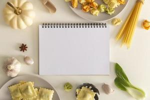 Flat lay delicious food concept with copy space
