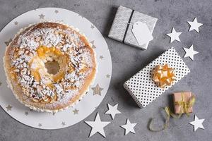 Flat lay Epiphany day dessert with ingredients and copy space photo