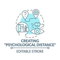 Creating psychological distance blue concept icon vector