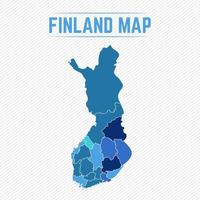 Finland Detailed Map With States vector