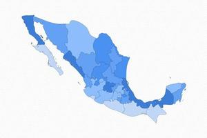 Mexico Divided Map With States vector