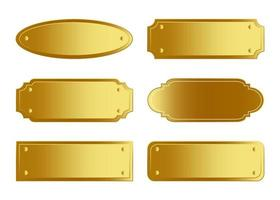 Golden Name Plate Collection vector