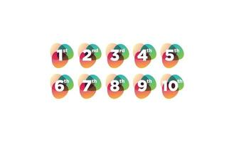 Number 1 - 10 retro colorful logo design vector