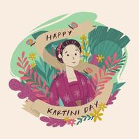 Kartini Day background decorated with flowers vector
