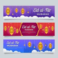 Eid Mubarak Banner collection with bright colors vector