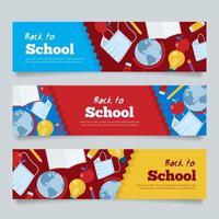 pancartas de regreso a la escuela con un color rojo amarillo azul vector
