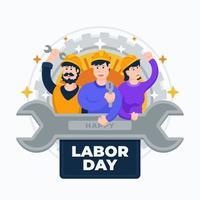 el dia del trabajo con unos trabajadores felices vector