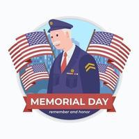 Memorial Day a Veteran wearing a uniform vector