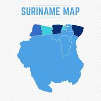 Suriname Detailed Map With States vector