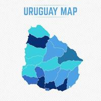Uruguay Detailed Map With States vector