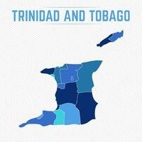 Trinidad and Tobago Detailed Map With States vector